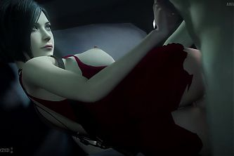 Slutty Ada Wong gets fucked in her red dress
