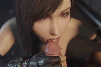 Tifa Lockhart Red Lipstick Blowjob Topless