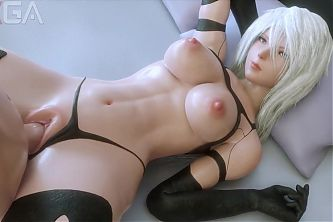 Yorha A2 sexy abs fucked in missionary position