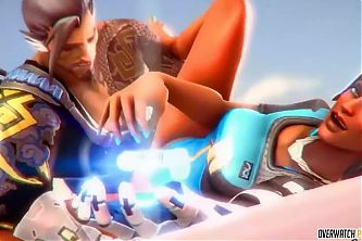 Sexy ass brunette Pharah from Overwatch gets fucked hard